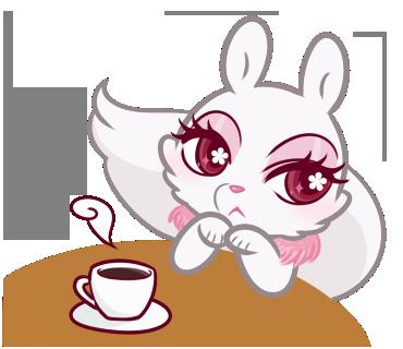 ミンクちゃんがカフェで一息